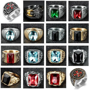 Heavy-Stainless-Steel-Mens-Cubic-Zirconia-Gemstone-Fashion-Rings-Jewelry-US-7-15