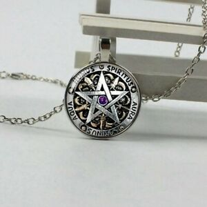 PENTAGRAM/_Large Pendant For Thick Silver Chain Necklace/_Wiccan Pentacle Witch