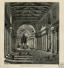 1875= ROMA = ANTICA BASILICA COSTANTINIANA DI S. PIETRO = Rara Stampa Antica