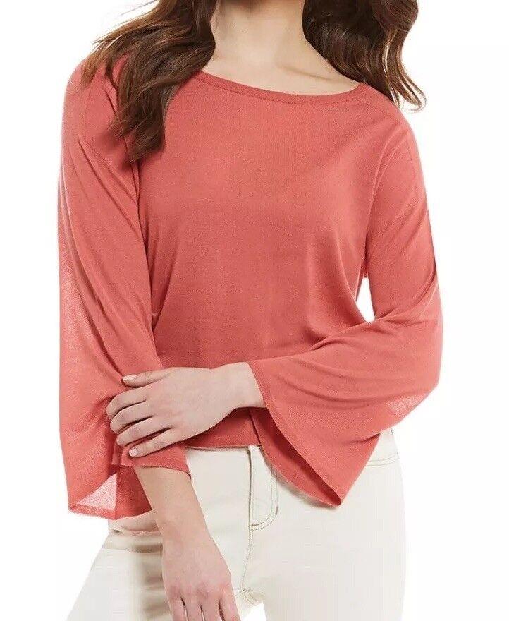 Eileen Fisher Mimosa Seamless Sleek Tencel Knit Bateau Neck Top  XL