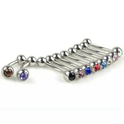 Crystal Steel Ball Tongue Nipple Barbell Rings Bars Body Jewelry Piercing 1H CL