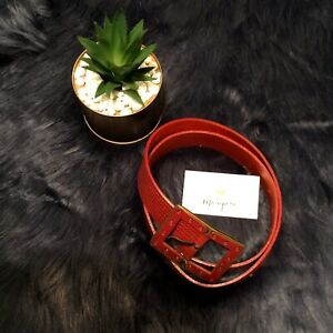 SANGIORGIO-Red-Leather-Belt-Made-in-Italy-Size-Large-11554