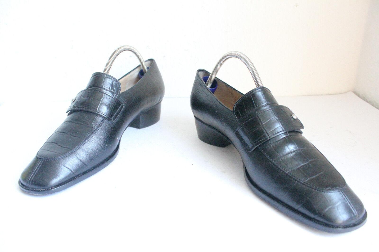Vintage Agner Slipper Schuhe voll Echtleder Schwarz Eu 38-38,5 made in