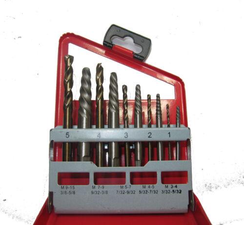 RDGTOOLS 10PC SCREW EXTRACTOR SET COBALT DRILLS M3 M15 DRILL SCREWS