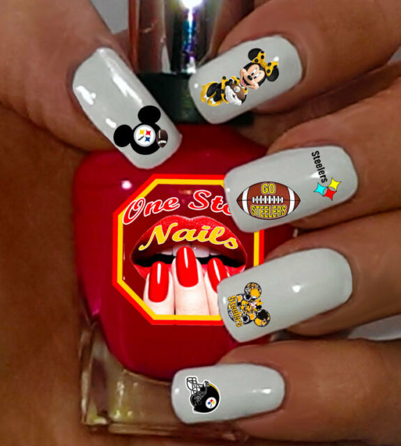 49pcs Pittsburgh Steelers Mickey Nail Art Decals Stickers Transfers ...