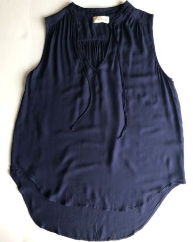 New Tie Blue Navy Low Sleeveless Hi Neckline Stone Top Camicetta Cloth Szxs f41qpwfrR