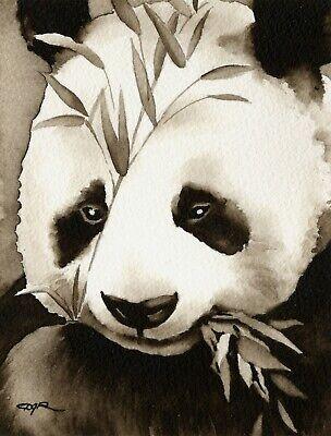 Panda Bear Art Print Sepia Watercolor Wildlife 11 x 14 by Artist DJR