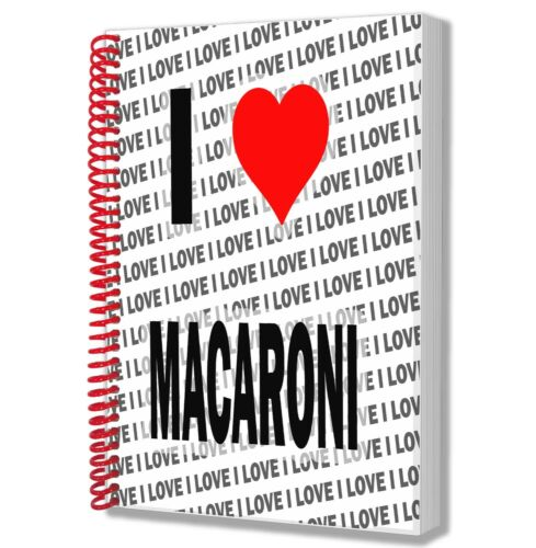 I Love Macaroni A5 Notebook Pad Diary Drawings Birthday Christmas Gift