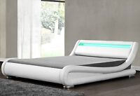 White Faux Leather Bed Luxury Frame With Led Light Double Size Modern Bedstead