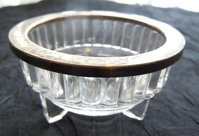 Birks Sterling  Rimmed Glass Nut / Condiment Small Bowl