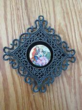 Vintage E.A. Riba Co. Porcelain on Velvet Diamond Metal Victorian Wall Hanging