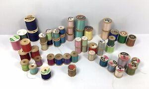 Vintage-Lot-of-51-Thread-Spools-Mixed-Colors-BELDING-COATS-CLARK-TALON
