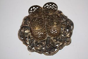 Victorian Brass 4 Hole Filigree Lipstick Holder