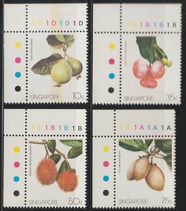(119)SINGAPORE 1986 LOCAL FRUITS CORNER SET 4V MNH.