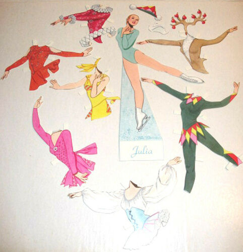"""ICE SKATER JULIA PAPER DOLL NIP Tom Tierney 8/""""Doll+7 Outfits WE SHIP WORLDWIDE!"""
