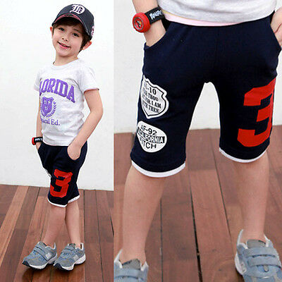 Fashion Kids Boys Girls Letter Number-3 Trousers Toddlers Short Pants 2-7 Years