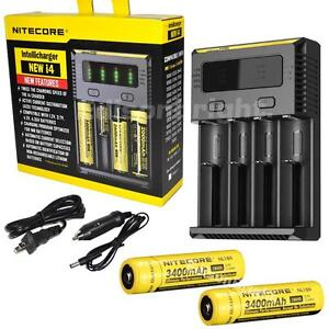 NITECORE New i4 2016 smart battery charger IMR/Li-ion 18650/16340 w/ 2 X NL189