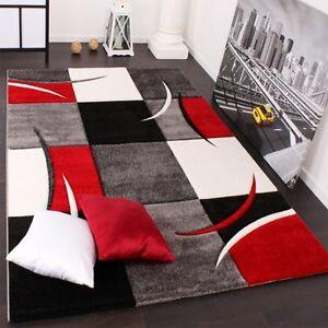 Modern Rug for Living Room Grey Red Black Carpet 80x150 120x170 ...