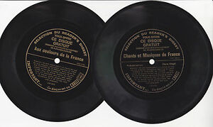 CHANTS-MUSIQUES-COULEURS-FRANCE-2-x-Vinyles-33T-17-cm-Souple-Pub-SELECTION-R-D