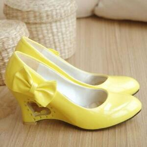 Womens-Pumps-Bowknot-Round-Toe-Irregular-High-Heel-Lolita-Mary-Jane-Shoes-Plus