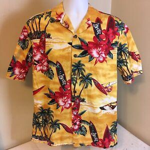 Hilo-Hattie-Mens-Hawaiian-Aloha-Camp-Shirt-Medium-Yellow-Floral-Surfboards-FS