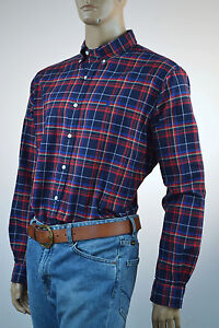 Ralph-Lauren-Classic-Fit-Navy-Blue-Red-Plaid-Long-Sleeve-Shirt-Blue-Pony-XL-NWT