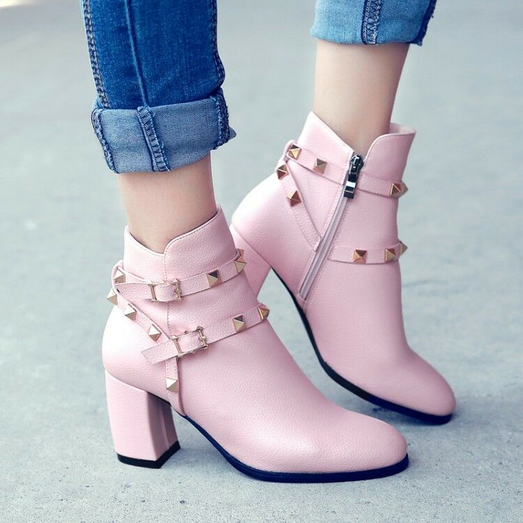 Vogue women's ankle boots shoes fashion rivet lined chunky heels side zip shoes