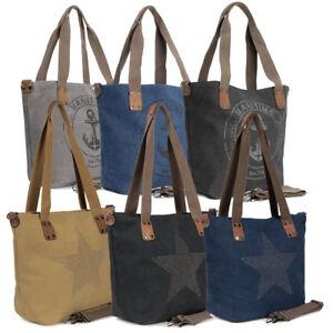 45905ab78ebc7 Das Bild wird geladen Damen-Handtasche-Anker-Schultertasche-Canvas-Shopper- Vintage-Umhaengetasche-