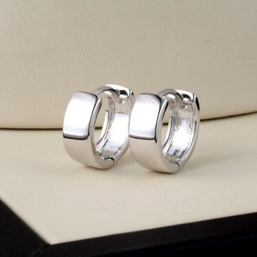 Femme Boucles d/'oreilles lisse Hoops 18k or blanc rempli 13 mm CALIN Fashion Jewelry