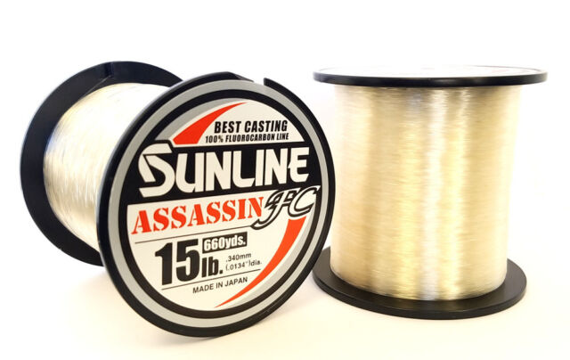 Sunline Assassin FC Fluorocarbon Fishing Line 660 Yard Spool Select Lb Test