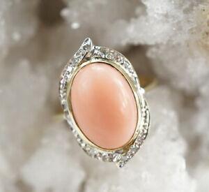 edler-585er-Gold-Ring-Koralle-Edelstein-Achtkant-Diamant-14-Kt-4-64g-Gr-59