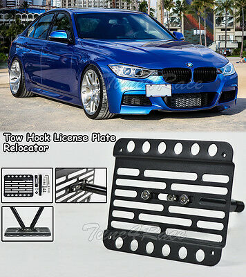 For 13-15 BMW F30 3-Series Front Tow Hook License Plate Mount Base Model Bracket