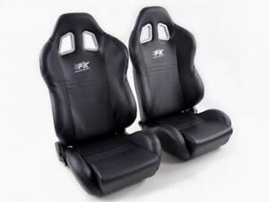 Details About Pair Front Car Sports Seats New York Black Seam Grey Vw Audi Seat Skoda