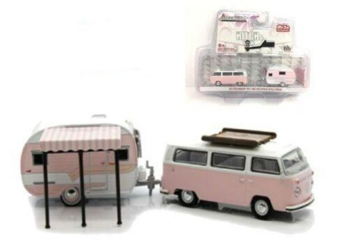 1974 VW T2 Bus Catolac DeVille Camper Trailer PINK  *** Greenlight 1:64 OVP