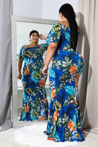 Women/'s Plus Size Off Shoulder Blue Tropical  Long Formal Party  Mermaid Dress1x