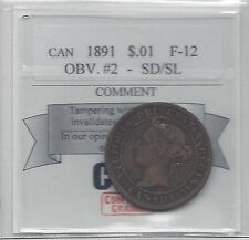 **1891 SD/SL Obv#2**, Coin Mart Graded Canadian, Large One Cent, **F-12**