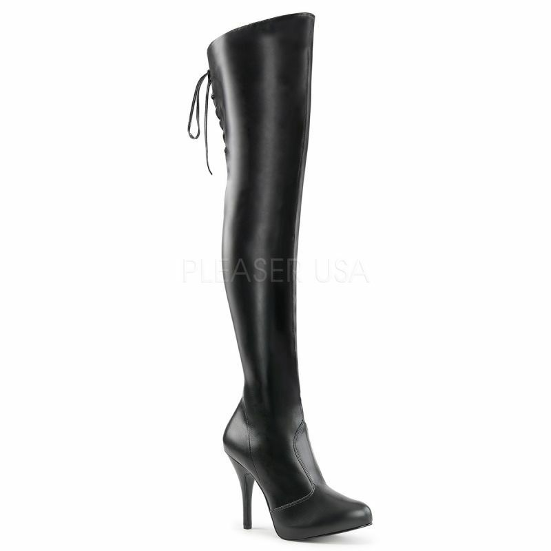PLEASER PINK LABEL EVE-312 Mini-Plateau Stiefel Overknee black Tabledance Gogo