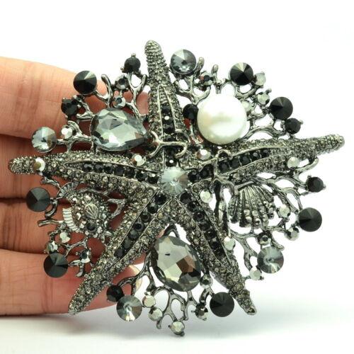 Black Starfish Fish BroochPins Imitate Pearl Rhinestone Crystals  Broach 6412