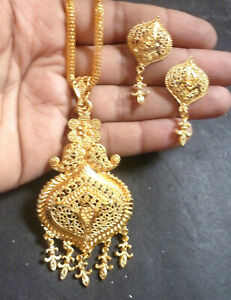22K-Gold-Plated-Indian-Designer-Necklace-chain-earrings-pendant-party-bridal-j