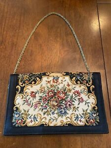 VINTAGE WALBORG BLACK TAPESTRY & FLORAL EVENING BAG CLUTCH WITH CHAIN