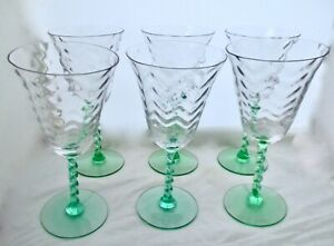 Vintage Set Of 6 Tiffin Glass Herringbone Optic Bowl Green Twisted Stem Water Ebay