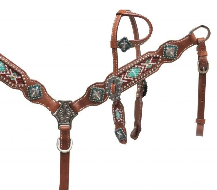 mostrareuomo PONY Leather Bridle & Breast Collar Set w TEAL Cross Beaded Inlay  nuovo