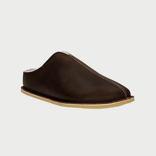 Clarks ORIGINALS Leder  Uomo Slippers Slip On Mule Padded Lined Wool Braun