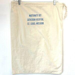 Vintage Lutheran Hospital St Louis MO Maternity Kit Bag Empty Flour Sack S10