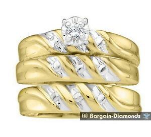 Diamond 07 carat 3Band Wedding Ring Set Solid 10K Gold bridal
