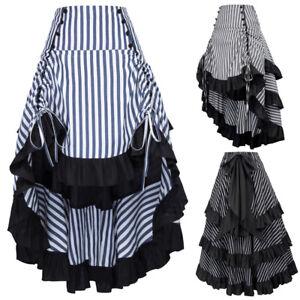 Belle-Poque-Women-Vintage-Victorian-Ruffle-High-Low-Skirt-Steampunk-Gothic-Dress