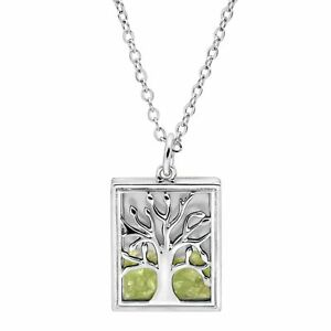 Natural Peridot Tree of Love Shaker Pendant in Rhodium-Plated Brass
