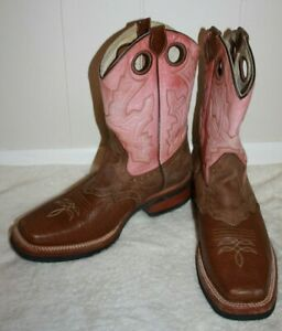 REYME-11-034-Ladies-Brown-amp-Pink-Cowboy-Boots-Size-9