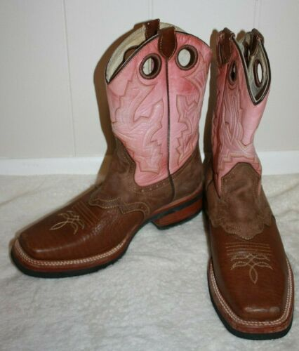 "REYME 11"" Ladies Brown & Pink Cowboy Boots Size 9 - image 1"