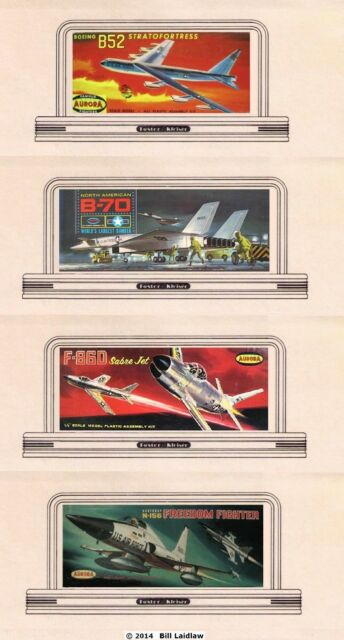 4 airplane billboards, N scale signs inc. B-52, B-70, Sabre Jet, Freedom Fighter